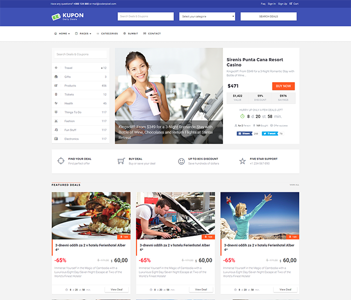 Kupon theme Review - daily deals template