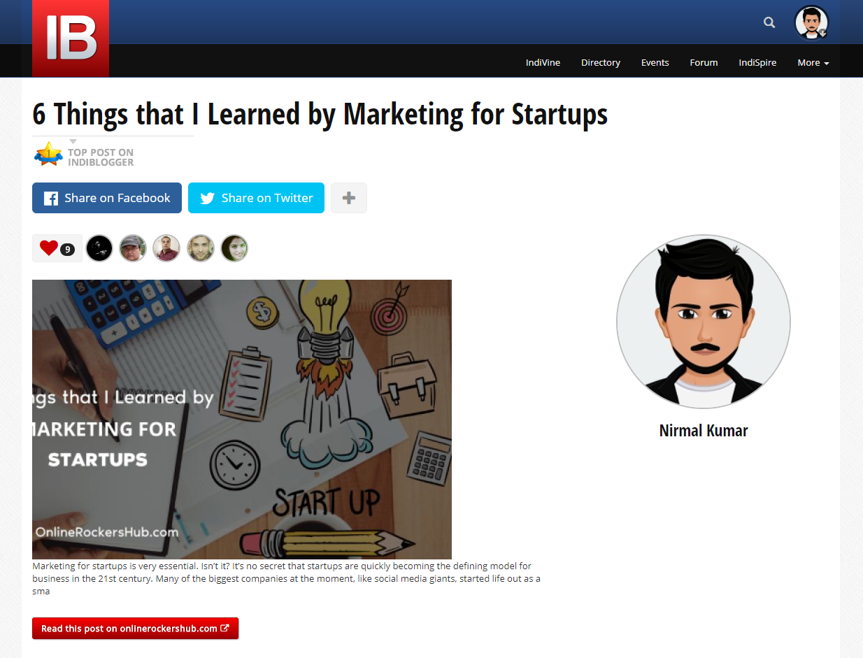 Top Blog Post in IndiBlogger - 6 things that I learned by Marketing for Startups