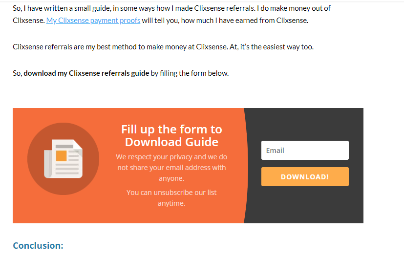 Form to download Clixsense guides