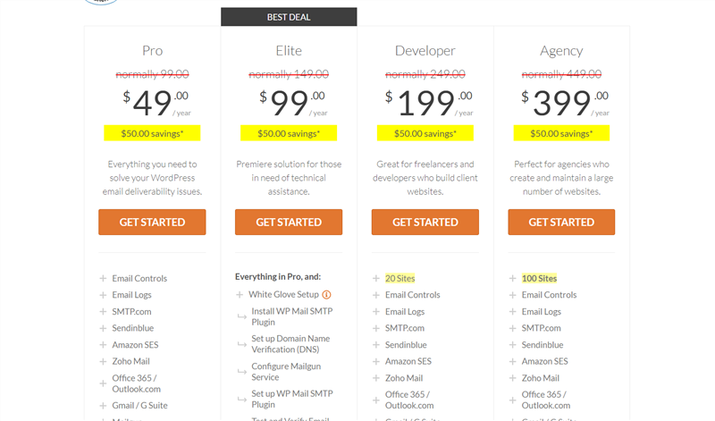 wp mail smtp pricing