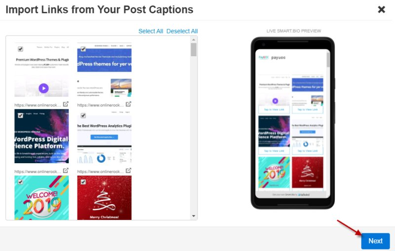 Import Links from your Instagram account