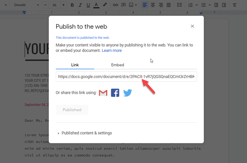 publish to web link