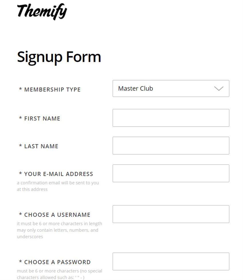 themify sign up page