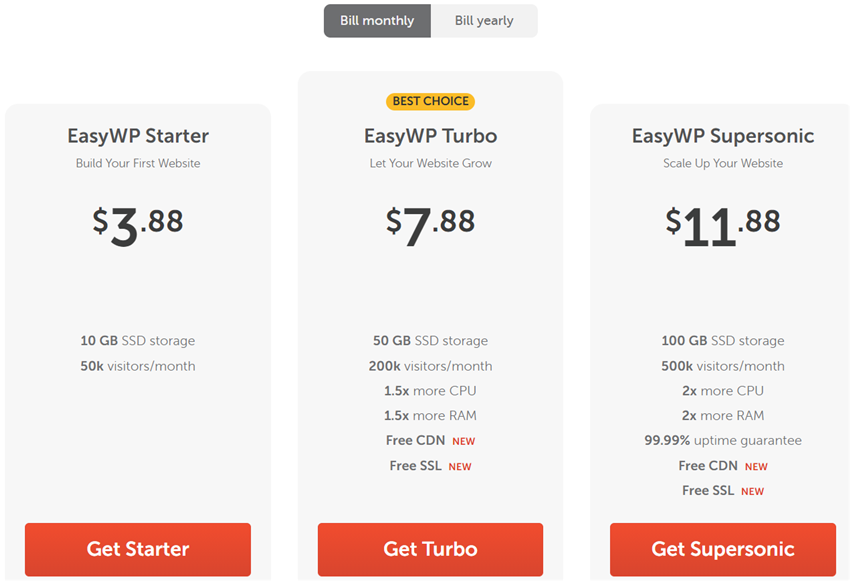 easywp monthly billing