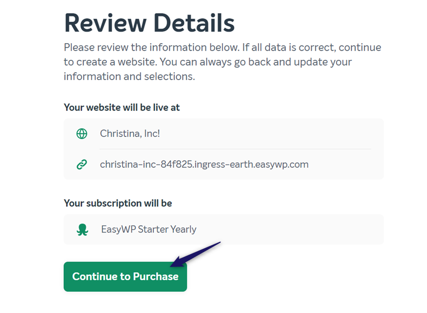 complete easywp purchase