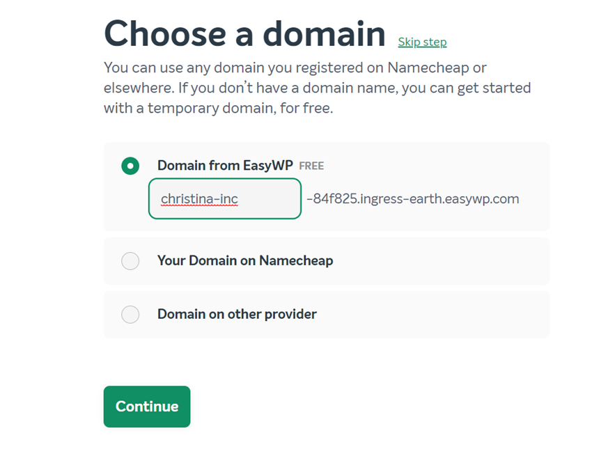 easywp domain name