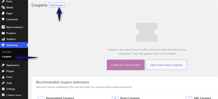 add new woocommerce coupon code