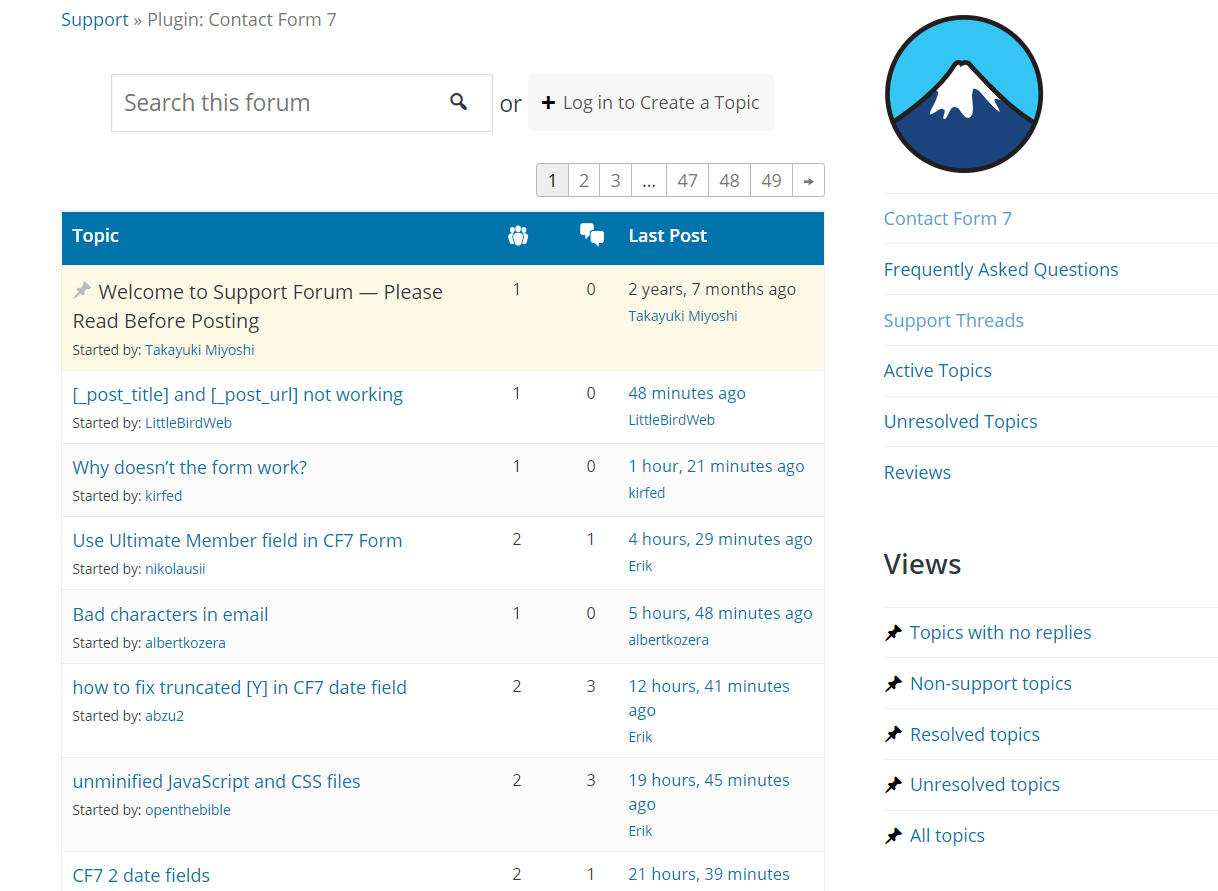 contact form 7 support forum